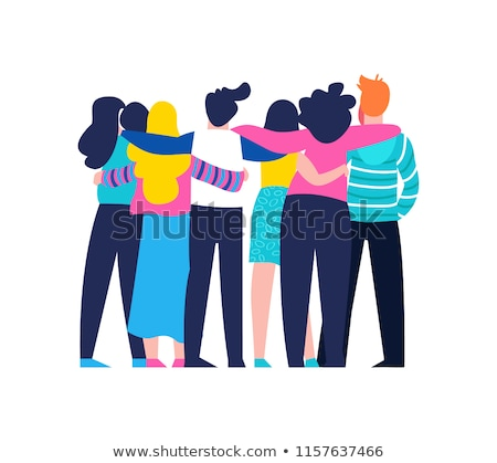 Happy girl friend group hug on isolated background Stock photo © cienpies
