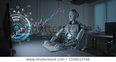 株式市場 · ロボット · 取引 · 手 · ノートパソコンのキーボード · 交換 - ストックフォト © limbi007