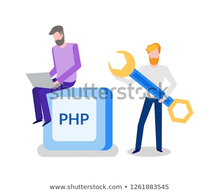 Banner PHP Two Working Men with wrench Vector Stock photo © robuart
