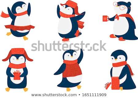 Set of Pinguins Winter Activities Vector Isolated Stock photo © robuart