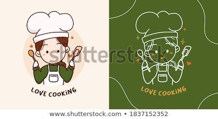 Szakács szakács pék rajzfilmfigura boldog jóképű Stock fotó © Krisdog