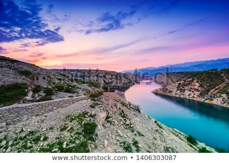 Stockfoto: Colorful Sunset Over Maslenica Bridge In Dalmatia Croatia