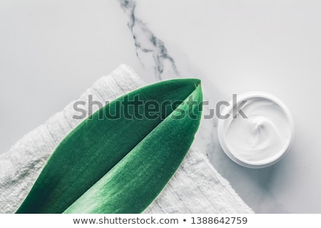 Organic beauty cosmetics on marble, home spa flatlay background Stock photo © Anneleven