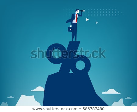 Percentage teken Blauw pijl Rood trappenhuis Stockfoto © AndreyPopov