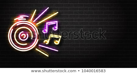 オーディオ プレーヤー ネオン ラベル エレクトロニクス プロモーション ストックフォト © Anna_leni