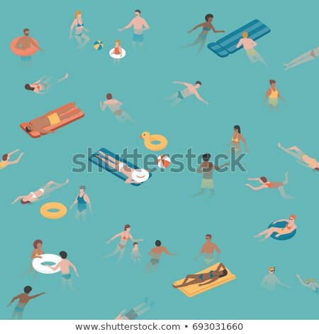 top view summertime illustration of happy family stock photo © sonya_illustrations