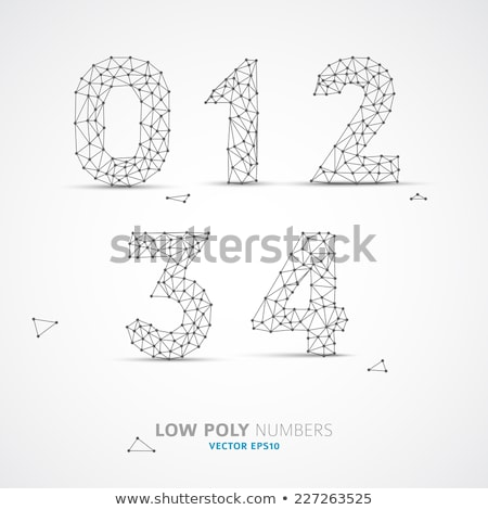 Stock photo: Black outline font Number 3 THREE 3D
