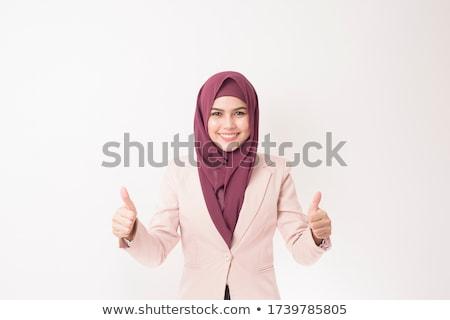 Fiatal muszlim üzletasszony öltöny hidzsáb olvas Stock fotó © pressmaster