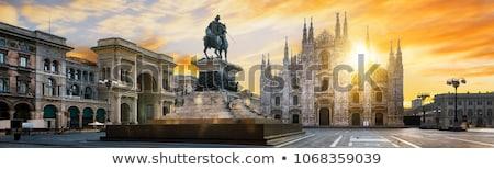 Gotik katedral gün batımı kare milan İtalya Stok fotoğraf © vapi