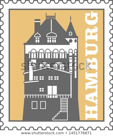 Hamburg város postabélyeg kikötő raktár embléma Stock fotó © Winner