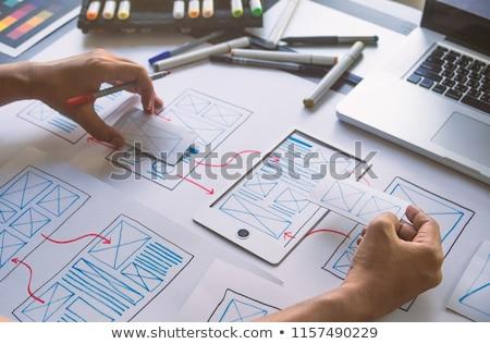 Ui designer dolgozik felhasználó interfész iroda Stock fotó © dolgachov