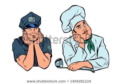 álmodik férfi rendőr szakács szett pop art Stock fotó © studiostoks