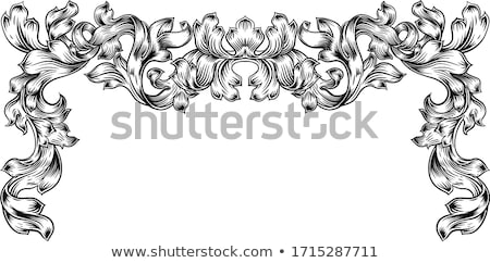 Frame laurel filigree crest floral pattern motif Stock photo © Krisdog