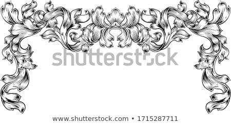 frame laurel filigree crest floral pattern motif stock photo © krisdog