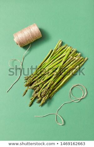 Organic natural asparagus in a bundle and coil of rope on a green background. Stock photo © artjazz