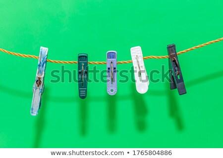 洗濯挟み ロープ 3次元の図 孤立した 白 木材 ストックフォト © montego