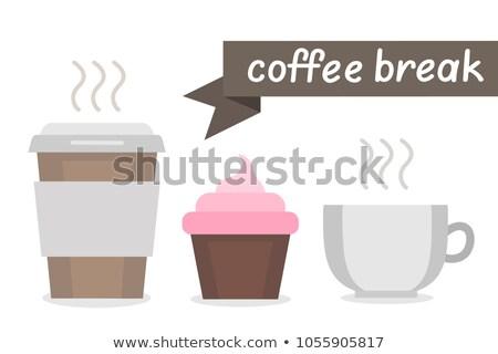 Papír kávéscsésze muffin reggeli vektor illusztráció Stock fotó © cidepix
