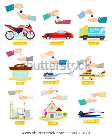 Sportcar. Truck. Sportbike. Hands Passing Keys Stock photo © robuart