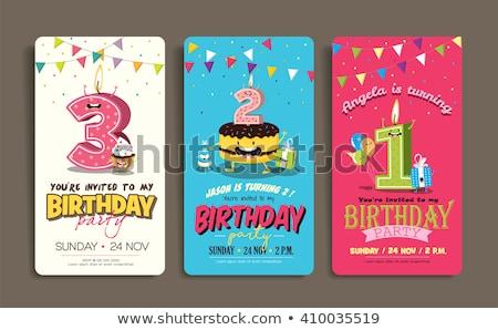 verjaardagstaart · wenskaart · ontwerp · sjabloon · cute · kaarsen - stockfoto © anna_leni