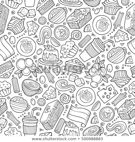 cartoon cute hand drawn italian food seamless pattern stock photo © balabolka