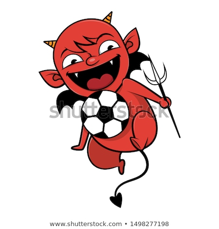 Cartoon grappig cute duivel spelen voetbal Stockfoto © rwgusev