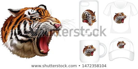 Graphic design on different products with tiger Stock photo © bluering