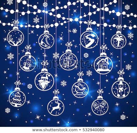 Noël nouvelle année bleu décoration blanche suspendu Photo stock © olehsvetiukha