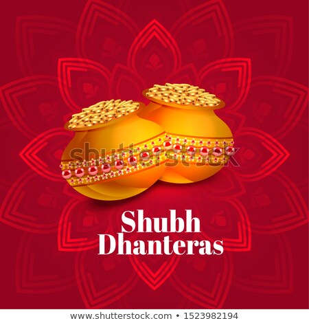 ethnic shubh dhanteras festival card with gold coin pots Stock photo © SArts