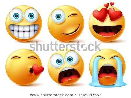 liefde · Geel · emoticon · gezicht · 3D · kleur - stockfoto © cienpies