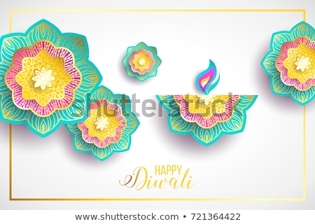 happy diwali festival purple hindu flower candle stock photo © cienpies