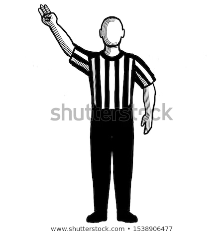 basketball referee 3 point field goal successful hand signal retro black and white stock photo © patrimonio