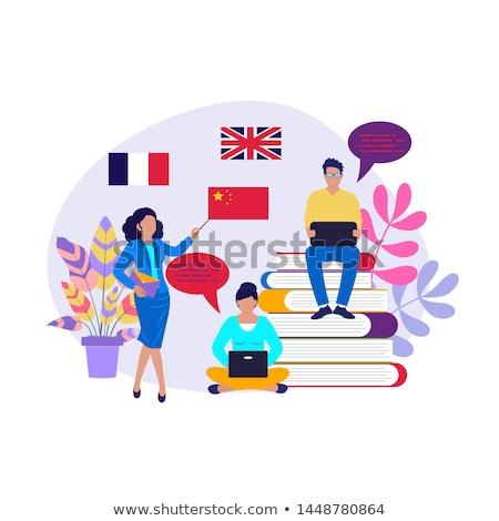 Buitenlands taal workshop studenten oefenen dynamisch Stockfoto © RAStudio