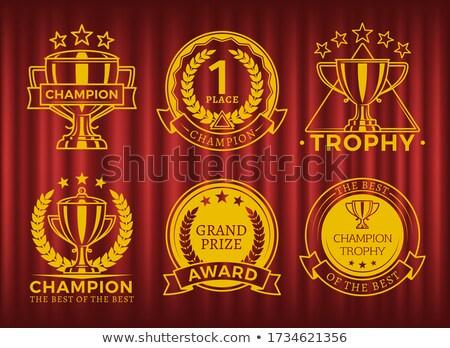 Première place champion gagnant prix badge rideau Photo stock © robuart