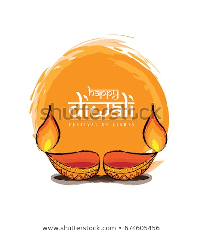 happy diwali orange watercolor greeting background design stock photo © sarts