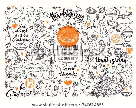 Mutlu teşekkürler karikatür karalamalar örnek Stok fotoğraf © balabolka