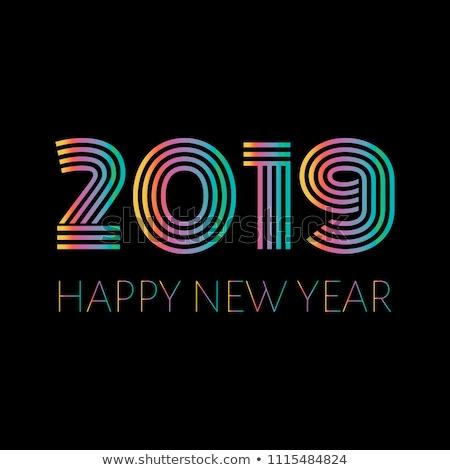 Gelukkig nieuwjaar lint banner heldere kleurrijk stijl Stockfoto © FoxysGraphic