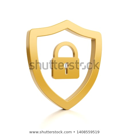 Yellow Outline Shield Shape with Padlock on White Stock photo © make