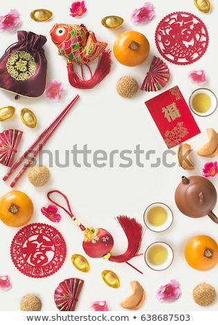 Capodanno cinese lanterna decorazione testo spazio primavera Foto d'archivio © SArts