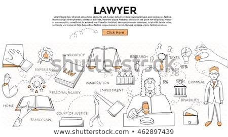 Law and justice - line design style banners set Stock photo © Decorwithme
