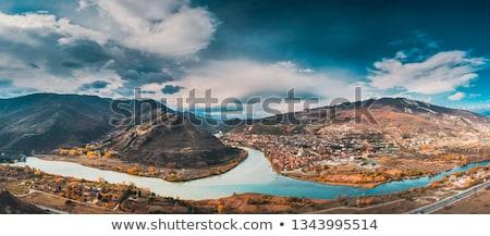 Vue rivière vallée Géorgie panoramique monastère Photo stock © borisb17