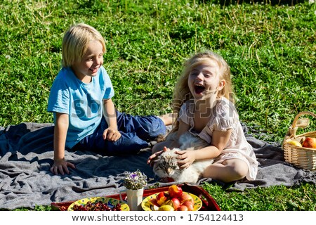 Children brother and sister sit in the summer in a clearing in the woods and eat corn Stock photo © ElenaBatkova