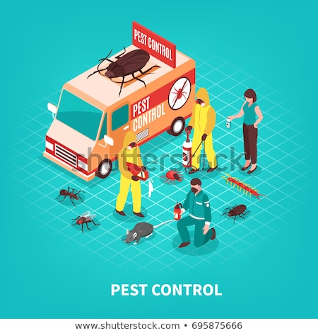 Vector isometric pest control worker spraying pesticides Stock photo © tele52