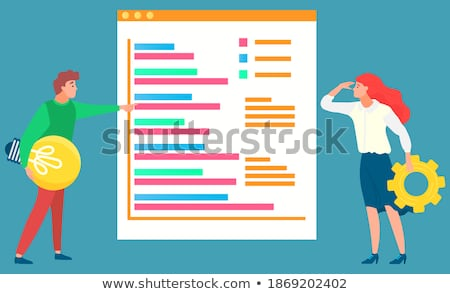Woman Business Manager Standing on Gearwheel Stock photo © robuart