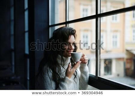 Heureux brunette Homme modèle chaud tricoté Photo stock © vkstudio