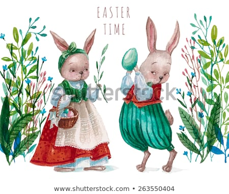 Joyeuses pâques carte drôle lapins peinture oeuf Photo stock © cienpies