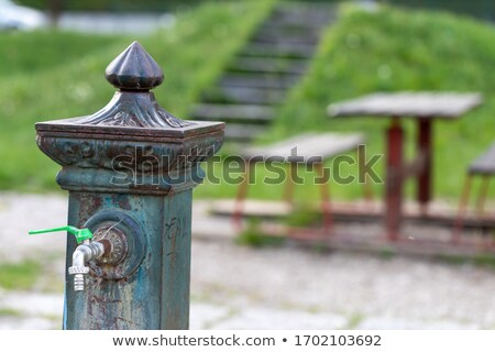 Víz szökőkút üres városi park közelkép Stock fotó © Giulio_Fornasar