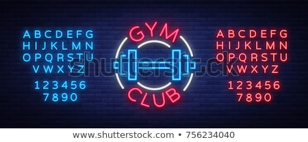 Fitness neon tekst sport promotie achtergrond Stockfoto © Anna_leni