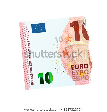 Realistic dummy of half ten euro banknote torn into two pieces on white Stock photo © evgeny89
