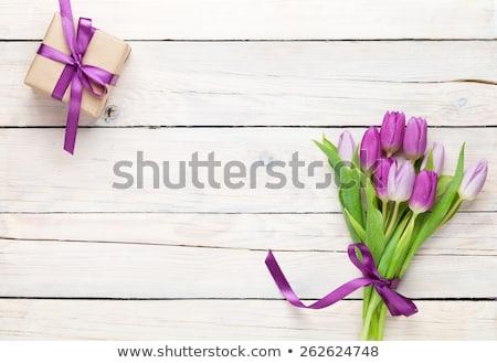 Rózsaszín tulipánok tulipán virágok virágcsokor üdvözlőlap Stock fotó © karandaev