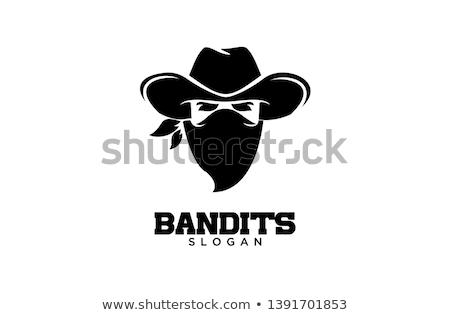 Haydut yüz maske siyah beyaz örnek kafa Stok fotoğraf © patrimonio